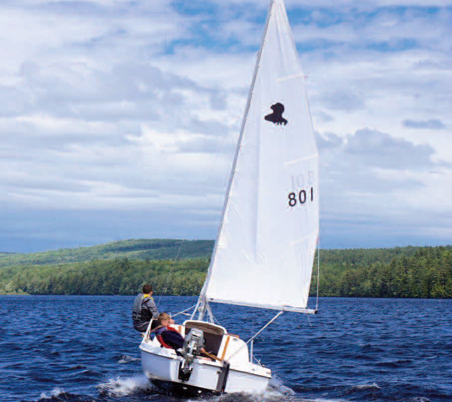 teens sailing on Sheepscot Lake