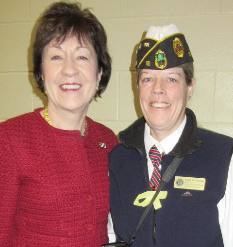 Veteran Tina Richard, right, of Clinton,  with keynote speaker U.S. Sen. Susan Collins.