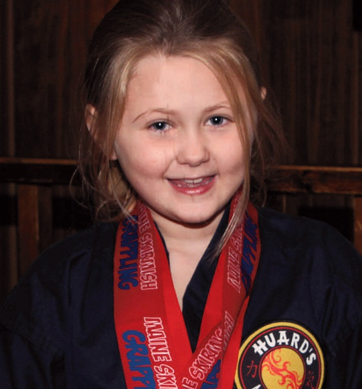 Huard's Martial Arts student Madison Field, 7, of Vassalboro, captured a gold medal in grappling at the Maine Grappling Tournament at Winslow High School on November 7.