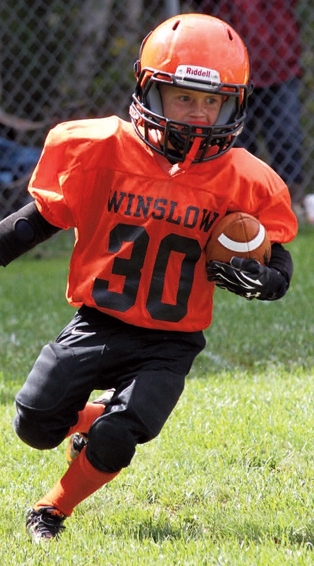 Winslow Youth Football team member Seth Adams