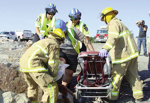 Fire and rescue personnel participate in a mock disaster response. Internet photo